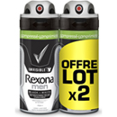 Rexona men déodorant invisible black white compressé 2x100ml