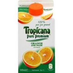 Pur jus d'orange avec pulpe TROPICANA Pure Premium, 50cl
