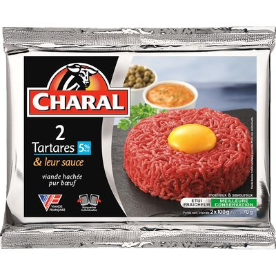 Tartare, + 70g sauce, CHARAL, 2 pièces, 100g