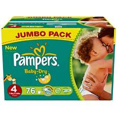 Couches baby dry jumbo box pampers taille 4 76 unites - Prix couches pampers baby dry taille 2 ...