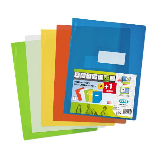 Elba school life, protege cahier 24x32 transparent assorti, le lot de 4 + 1