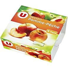 Compotes pomme-peche U, 4x100g