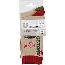 Mi-chaussettes U COLLECTION taupe/rouge/kaki 31/35 x2