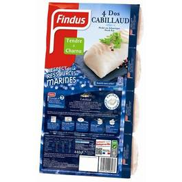 Dos de cabillaud FINDUS, 4 pieces, 440g