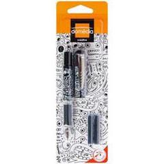 Domedia Creative, Stylo plume fantaisie noir & blanc rechargeable + cartouches, le stylo + 4 cartouches courtes