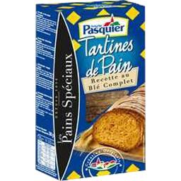 Tartines toastees au ble complet PASQUIER, 240g