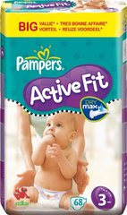 Pampers - 81261358  - Active Fit Couches - Taille 3 Midi (4-9 Kg) - Format economique X 68 Couches