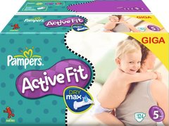Pampers - 81223491 - Active Fit Couches - Taille 5 Junior (11-25 kg) Gigapack x124