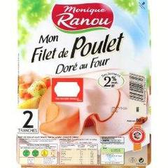Filet de poulet dore au four, traite en salaison, qualite choix, x2 tranches, le paquet,80g