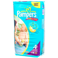 Couches Pampers Baby-Dry T4 + 9-20kg x54
