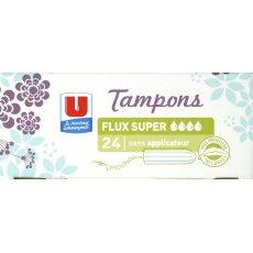 Tampons sans applicateur Super U, 24 unites
