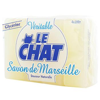Savons glycerine le chat 4x200g tous les produits pains de savon prixing - Composition savon de marseille ...