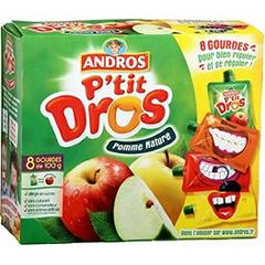 Compote pomme nature P'tit Dros ANDROS, 8 gourdes, 800g