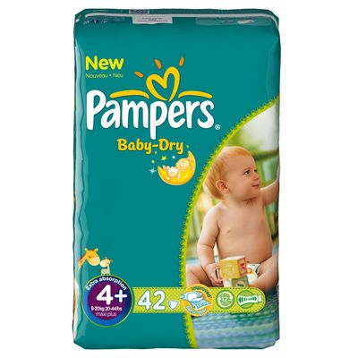 Pampers, Couches baby-dry, taille 4 + : 9-20 kg, le paquet de 42