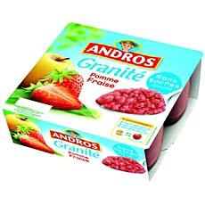 Specialite pomme fraise sans sucre ajoute Granite ANDROS, 4x100g