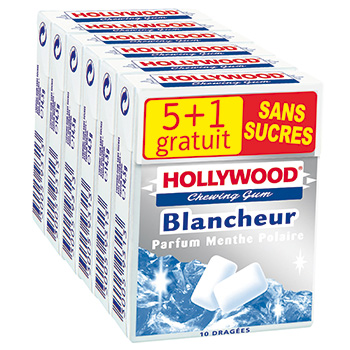 Chewing-gum Hollywood blancheur Menth.polaire s/sucre 5 + 1gr 87g