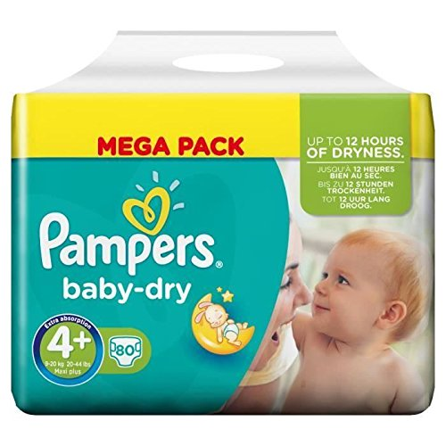 Pampers babydry couches bébé mega t4 + maxi plus x80
