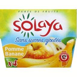 Puree de fruits pommes bananes, 4 x 100g,, 400g