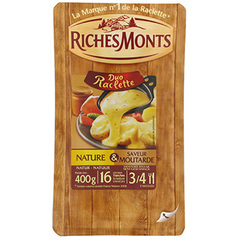 Raclette au lait pasteurise duo tranchettes nature et moutarde RICHES MONTS, 26%MG, 400g