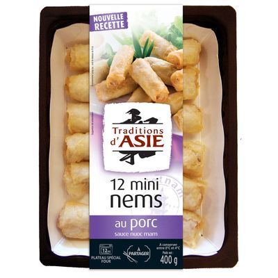 Mini nems au porc et sauce Nuoc mam TRADITIONS D'ASIE, 12 pieces, 400g