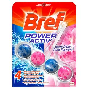 Bref Bloc Nettoyant WC Power Activ Pink Splash 50 g - Lot de 3
