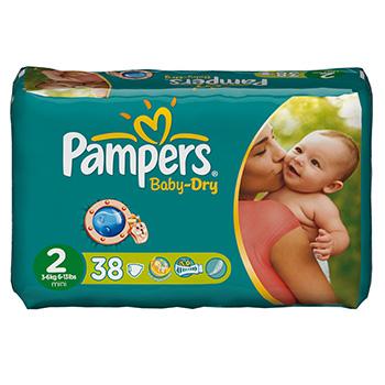 Couches baby dry mini taille 2 3 6kg pampers paquet x38 - Combien coute un paquet de couche pampers ...