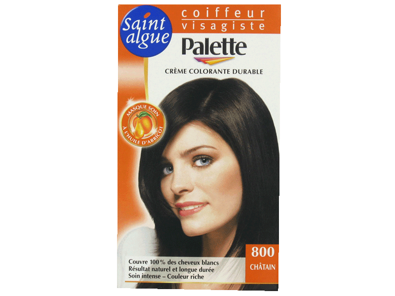 Saint Algue-Palette, Creme colorante durable Chatain 800, la boite de 115ml