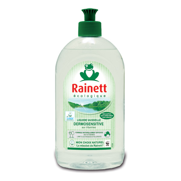 Rainett Liquide Vaisselle Ecologique Dermosensitive Ecolabel 500 ml Lot de 4