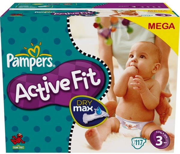 Pampers - 81261296 - Active Fit Couches - Taille 3 Midi (4-9 Kg) - Megapack X 117 Couches