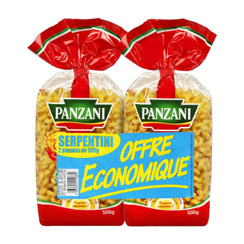 Panzani Serpentini, qualité or le lot de 2 paquets de 500 gr -