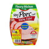 roti de porc cuit 100% filet fleury michon 4 tranches 200g