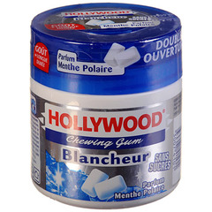 Chewing gums sans sucre Blancheur menthe polaire HOLLYWOOD, 70 dragees, 88g