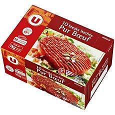Steak hache pur boeuf U, 10 pieces, 1kg