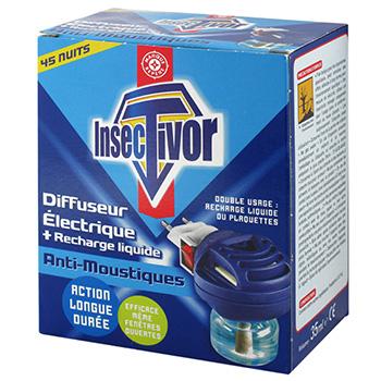 diffuseur electrique insectivor anti moustiques recharge 35ml tous les produits insecticides. Black Bedroom Furniture Sets. Home Design Ideas