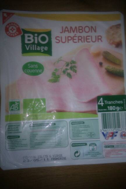 Jambon superieur Bio Village Degraisse dec. 4 tranches 90g