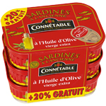Connetable sardines huile olive 3x115g + 20%