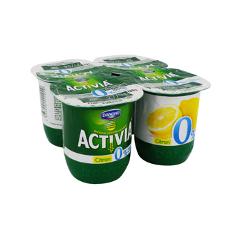 Activia 0% lemon lime 4x125g