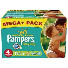 Couches Pampers Baby dry T4 7-18kg x114 Budget box