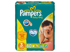 Couches Baby-Dry midi taille 3 (4-9kg) Pampers value + bag x80