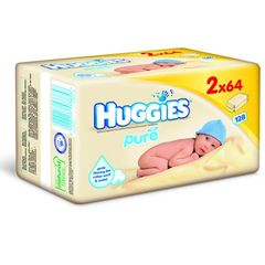 Lingettes huggies pure duo pack 2 x 64