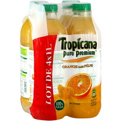 Tropicana Pure Premium Orange Sans Pulpe 4X1L