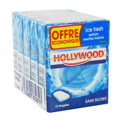 Chewing-gums sans sucre menthe fraiche HOLLYWOOD Ice Fresh, 5x10 dragees, 73g