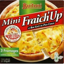 Buitoni, Mini Fraich'up Pizza 3 fromages, emmental, edam, mozzarella, la boite de 285 gr