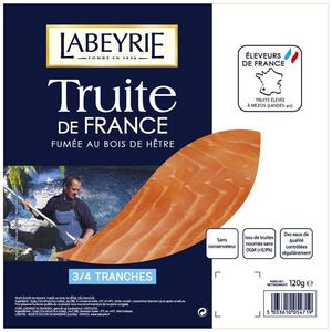 LABEYRIE TRUITE FUMEE DE FRANCE 3/4 TRANCHES 120G