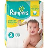 Couches new baby mini taille 2 (3/6kg) PAMPERS, 31 unités