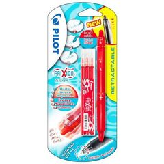 Stylo bille roller Frixion ball clicker rouge + 3 recharges d'encre rouge