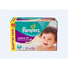 Pampers active fit couche bébé quatropack T4 maxi x88