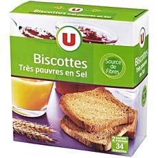 Biscottes sans sel U, 34 tranches, 300g