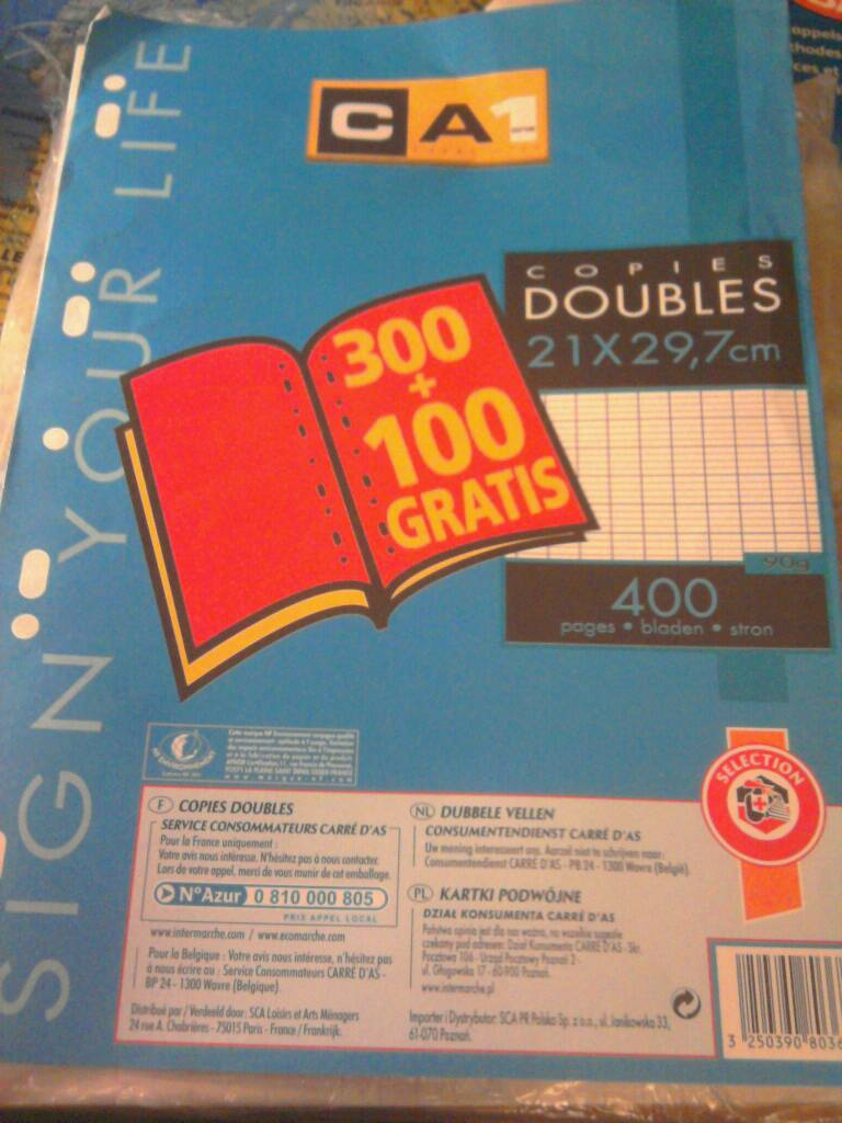 Domedia Creative, Lot promo 300 + 100 copies doubles 21x29,7 cm perforees 90 Gr seyes, l'unite