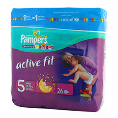 Couches Active Fit junior PAMPERS, taille 5, 11 a 25kg, 26 unites